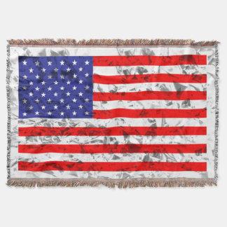 Metallic American Flag Design 2 Throw Blanket
