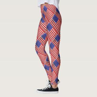 Metallic American Flag Design Leggings
