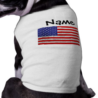 Metallic American Flag Design Sleeveless Dog Shirt