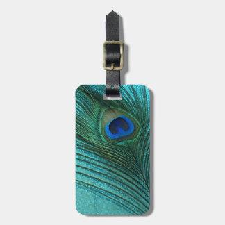 Metallic Aqua Blue Peacock Feather Bag Tag