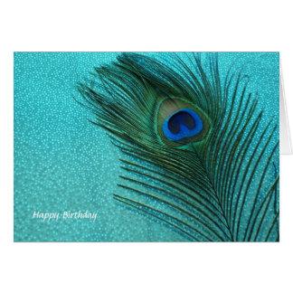 Metallic Aqua Blue Peacock Feather Card