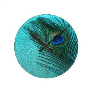 Metallic Aqua Blue Peacock Feather Wallclocks