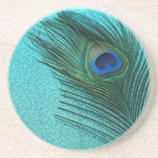 Metallic Aqua Blue Peacock Feather Sandstone Coaster