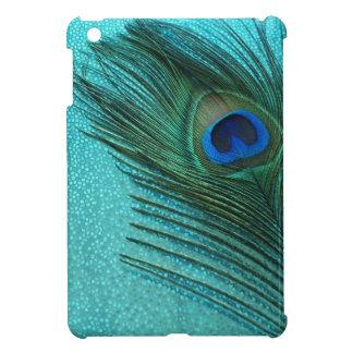 Metallic Aqua Blue Peacock Feather iPad Mini Cover