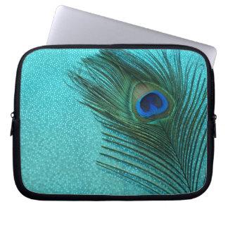Metallic Aqua Blue Peacock Feather Laptop Sleeve