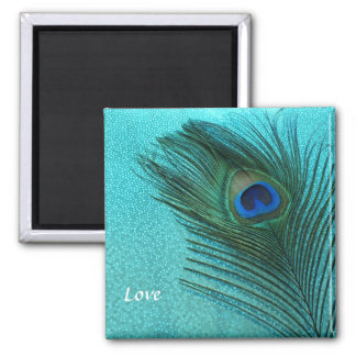 Metallic Aqua Blue Peacock Feather Square Magnet