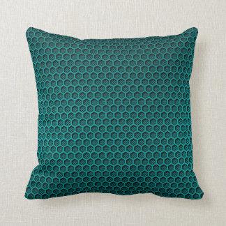Metallic Aqua Graphite Honeycomb Carbon Fibre Throw Pillow