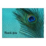 Metallic Aqua Peacock Wedding Thank You Cards