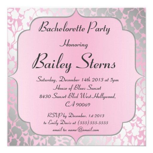 Metallic Baby Pink Bachelorette Party Invitation