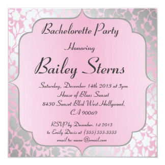 Metallic Baby Pink Bachelorette Party Invitation