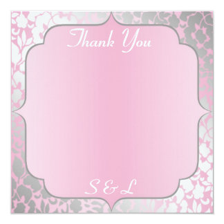 Metallic Baby Pink Thank You Card / Notice 13 Cm X 13 Cm Square Invitation Card