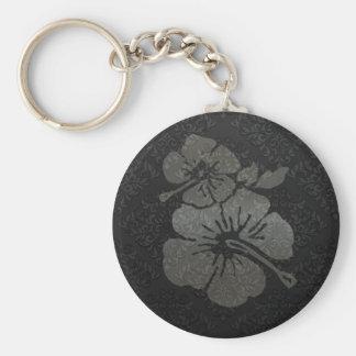 Metallic black and silver damask textured hibiscus key ring