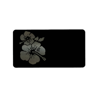 Metallic black and silver textured hibiscus label