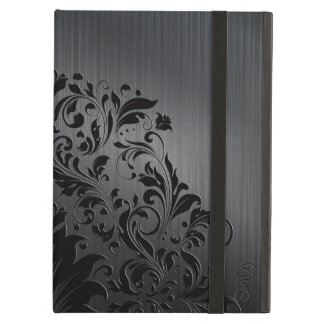 Metallic Black Brushed Aluminum & Floral Accent 4 Cover For iPad Air