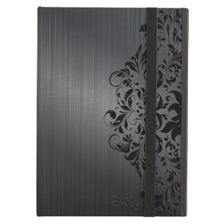 Metallic Black Brushed Aluminum Look Floral Accent Cover For iPad Air