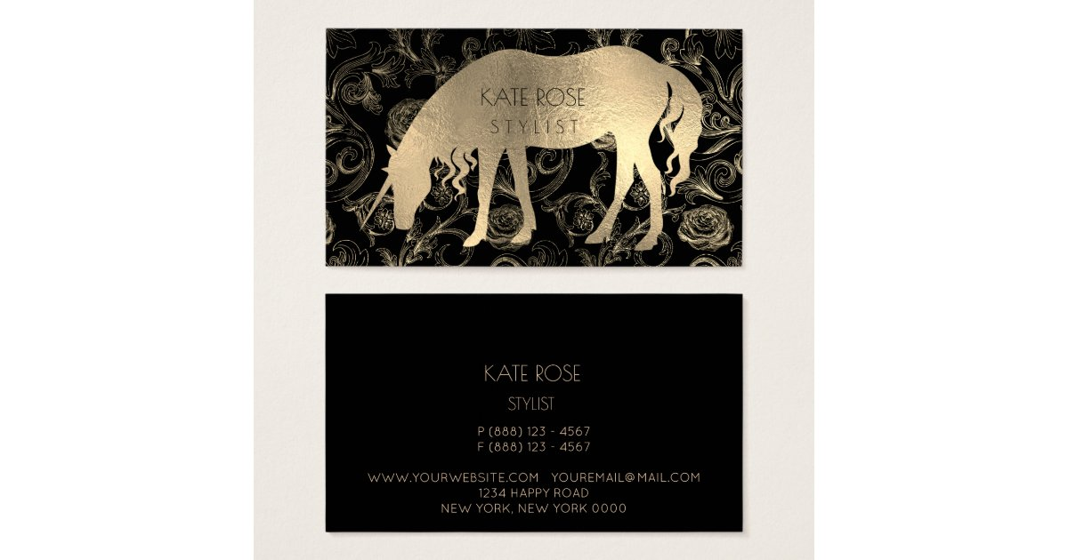 Metallic black champaign gold floral unicorn roses for Uiuc business cards