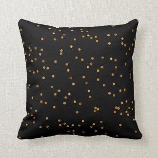 Metallic Black & Gold Confetti Dots Cushion