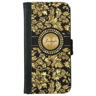 Metallic Black & Gold Vintage Damasks Monogram iPhone 6 Wallet Case