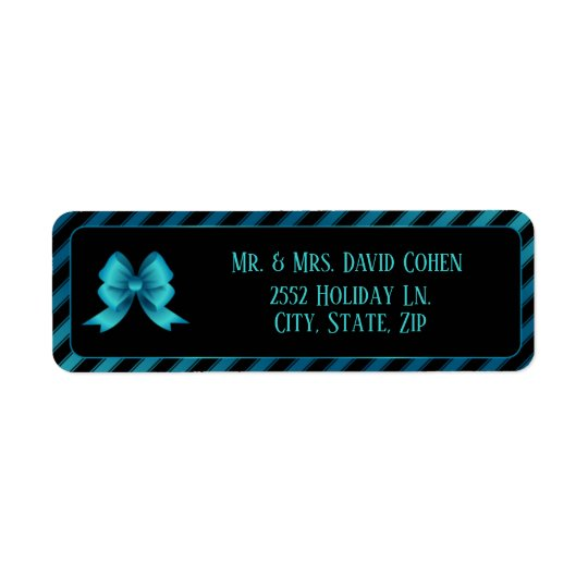 Metallic Blue Bow & Diagonal Stripes Return Address Label