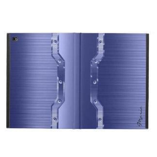 Metallic Blue Brushed Metal Look 3 Monogram
