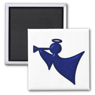 Metallic Blue Christmas Angel Magnet