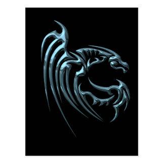 Metallic Blue Dragon with Stripes Postcard
