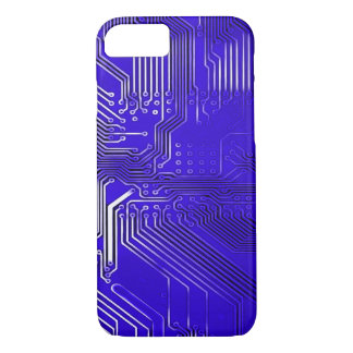 Metallic Blue Ghost Circuit Board Design iPhone 7 Case
