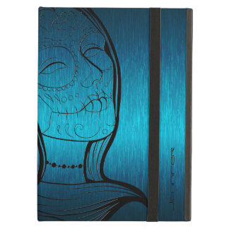 Metallic Blue-Green And Black Lady Sugar Skull iPad Air Cases