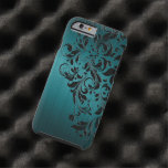 Metallic Blue-Green Brushed Aluminium & Black Lace
