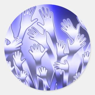 Metallic Blue Helping Hands Classic Round Sticker