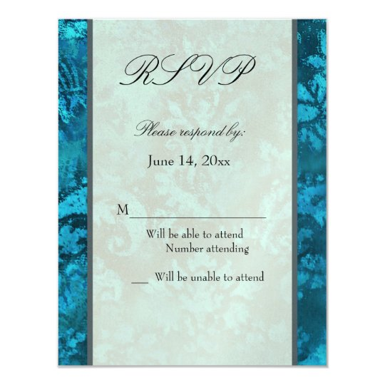 Metallic blue ice RSVP Card Template