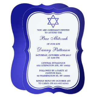 Metallic Blue Jewish Star Of David Bar Mitzvah Card