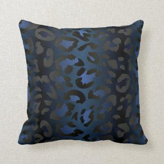 Metallic Blue Leopard Skin Pillow
