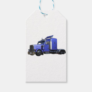 Metallic Blue Semi Tractor Trailer Truck Gift Tags