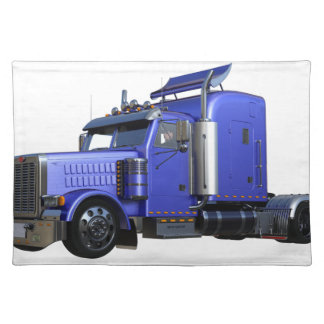 Metallic Blue Semi Tractor Trailer Truck Placemat