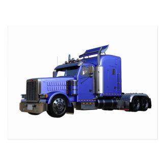 Metallic Blue Semi Tractor Trailer Truck Postcard