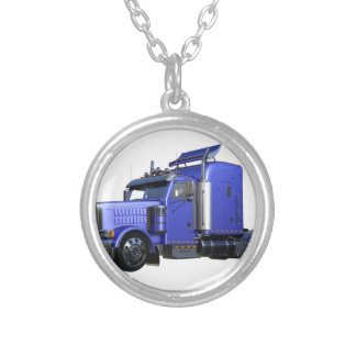 Metallic Blue Semi Tractor Trailer Truck Silver Plated Necklace