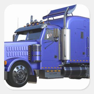 Metallic Blue Semi Tractor Trailer Truck Square Sticker