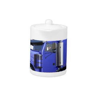 Metallic Blue Semi Truck In Three Quarter View