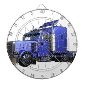 Metallic Blue Semi Truck In Three Quarter View Dartboard