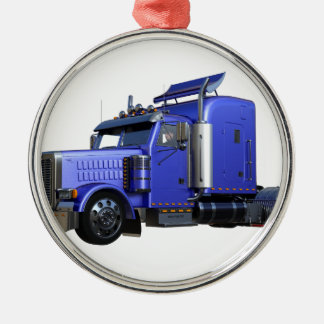Metallic Blue Semi Truck In Three Quarter View Metal Ornament
