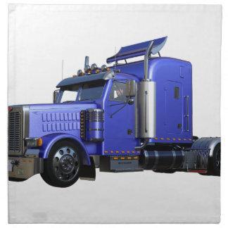 Metallic Blue Semi Truck In Three Quarter View Napkin