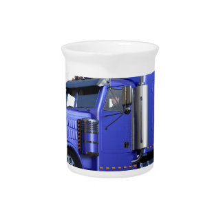 Metallic Blue Semi Truck In Three Quarter View Pitcher