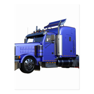 Metallic Blue Semi Truck In Three Quarter View Postcard