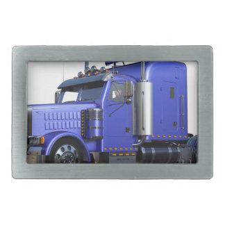 Metallic Blue Semi Truck In Three Quarter View Rectangular Belt Buckles