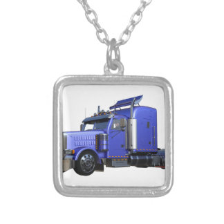 Metallic Blue Semi Truck In Three Quarter View Silver Plated Necklace