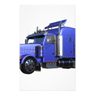 Metallic Blue Semi Truck In Three Quarter View Stationery