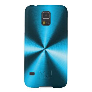 Metallic Blue Stainless Steel Look-Monogram Galaxy S5 Cases