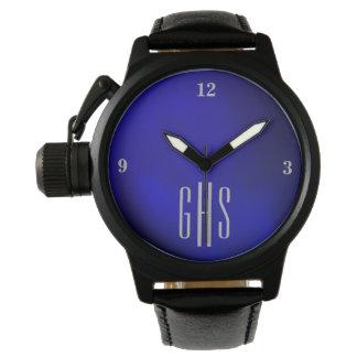 Metallic Blue Watch with 3-Initial Monogram