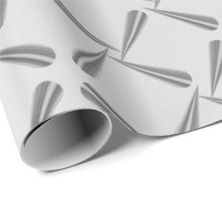 Metallic Blush Tiffany 3D Silver Gray Geometric Wrapping Paper